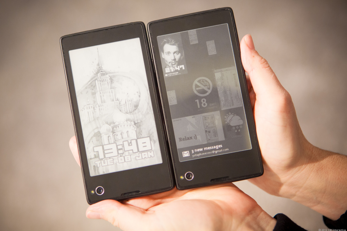 The YotaPhone pairs Android with a power-saving e-ink screen on the back.