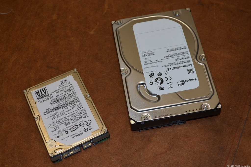 Typical 2.5-inch (laptop) and 3.5-inch (desktop) SATA internal hard drives.