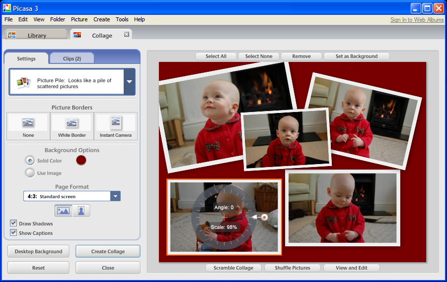 A collage mode in Picasa lets users create poster-size collections, sizing and placing each snapshot.