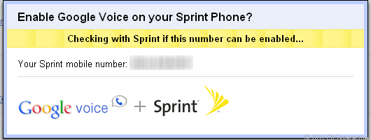 Prompt to enable Google Voice with your Sprint number