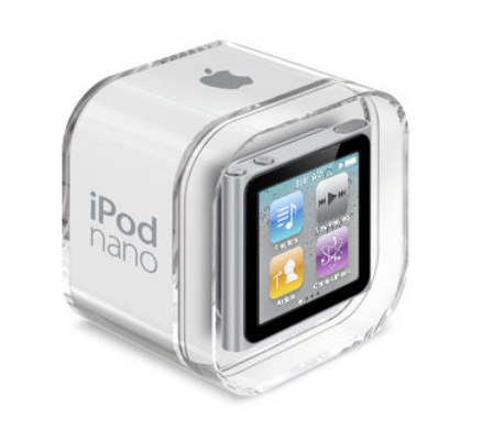 Apple's iPod nano in its retail packaging. What you see on the front right now is a sticker.