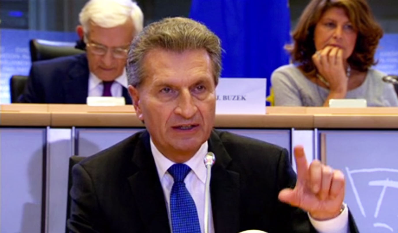 European Commissioner Günther Oettinger addresses members of the European Parliament.