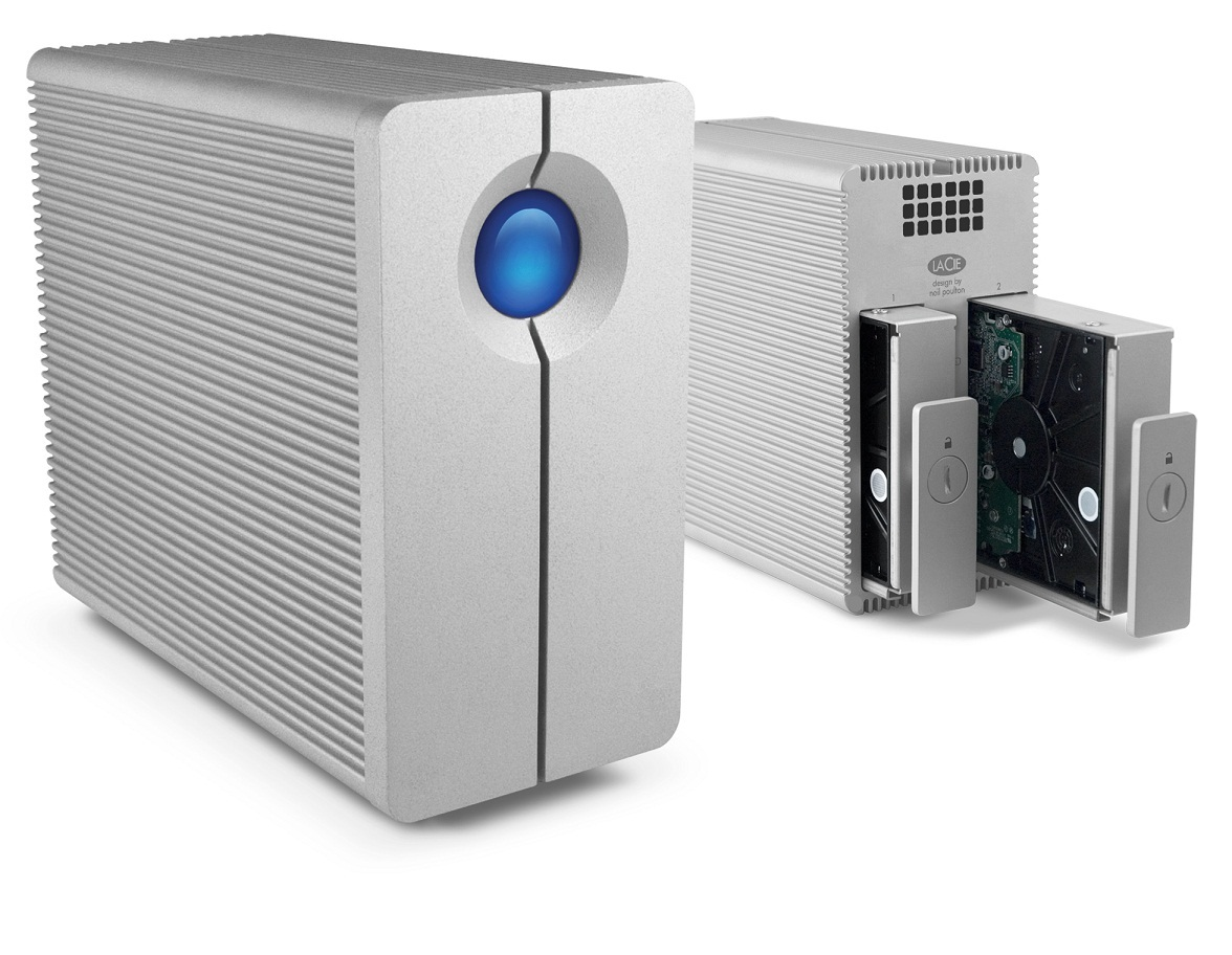 The LaCe 2big (front and back in the photo) comes with two internal hard drives and support RAID 1 and RAID 0.