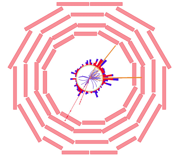 This graphic from the LHC's CMS experiment shows a likely candidate for evidence that the LHC has seen a pair of top quarks, heavy and short-lived particles first seen in 1995.