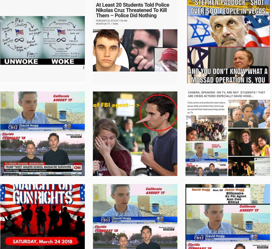 Conspiracy-theory memes about David Hogg filled Facebook-owned Instagram.