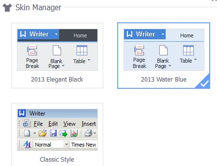 Choose between two Office 2010-style skins or a more old-fashioned interface.