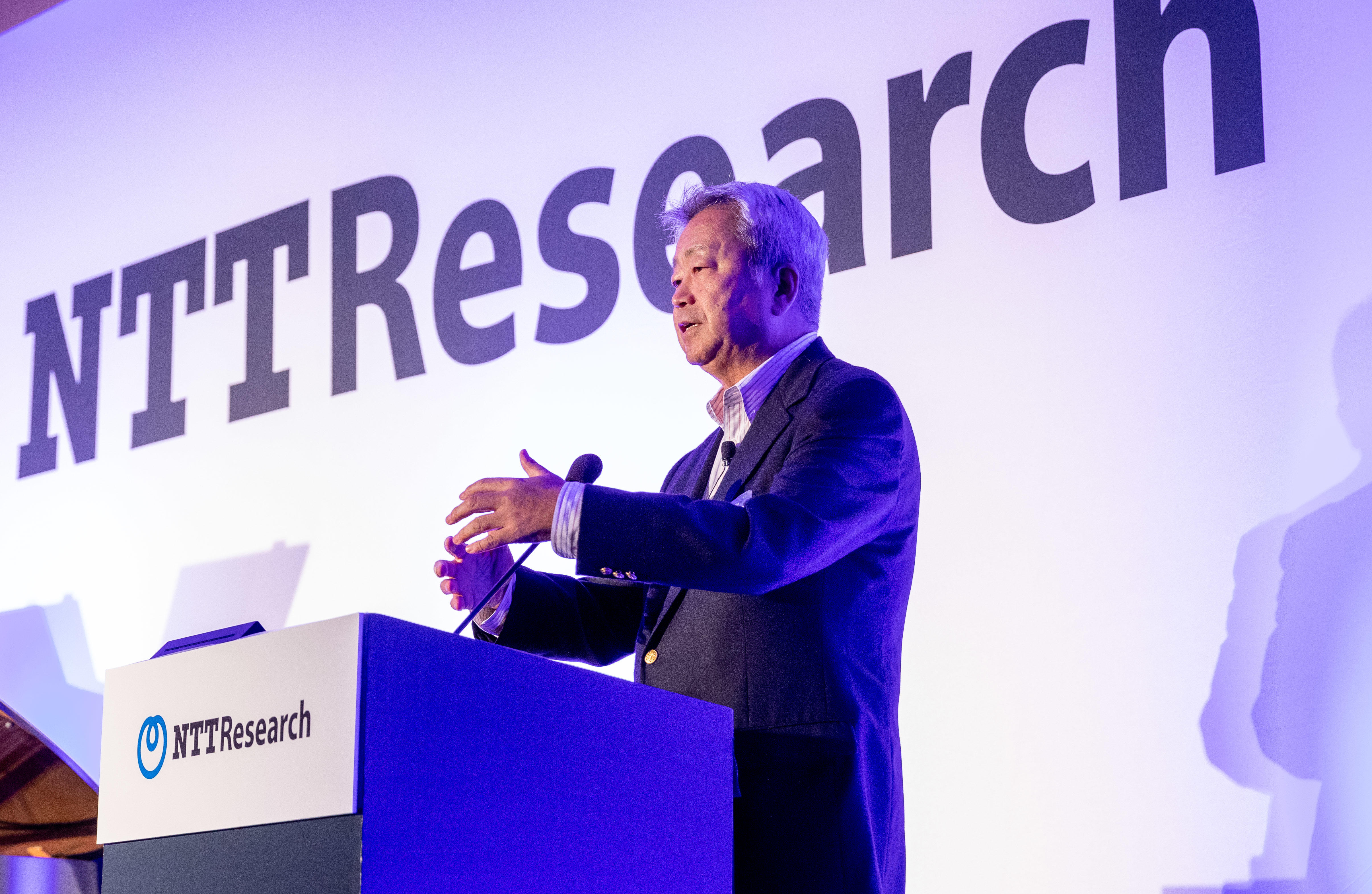 NTT CEO Jun Sawada speaks at the launch of NTT Research in Silicon Valley.