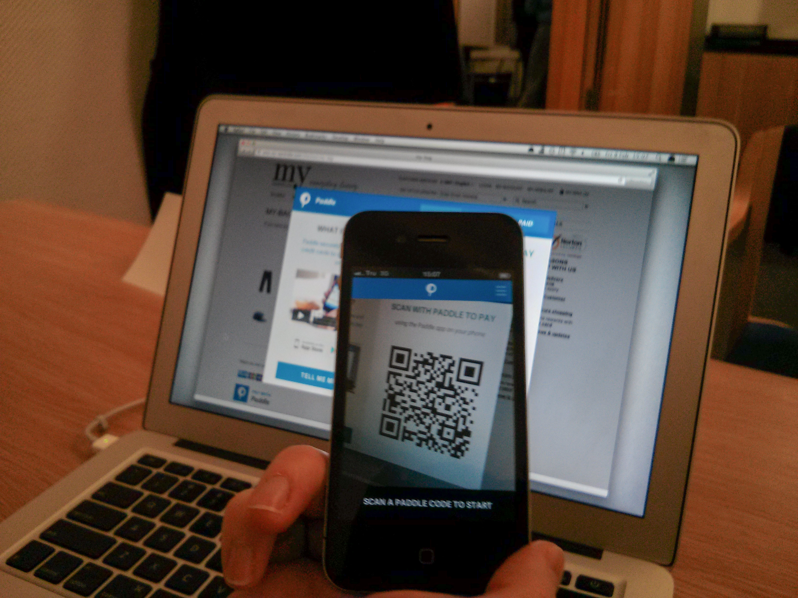 Pay online with quick code in mobile app