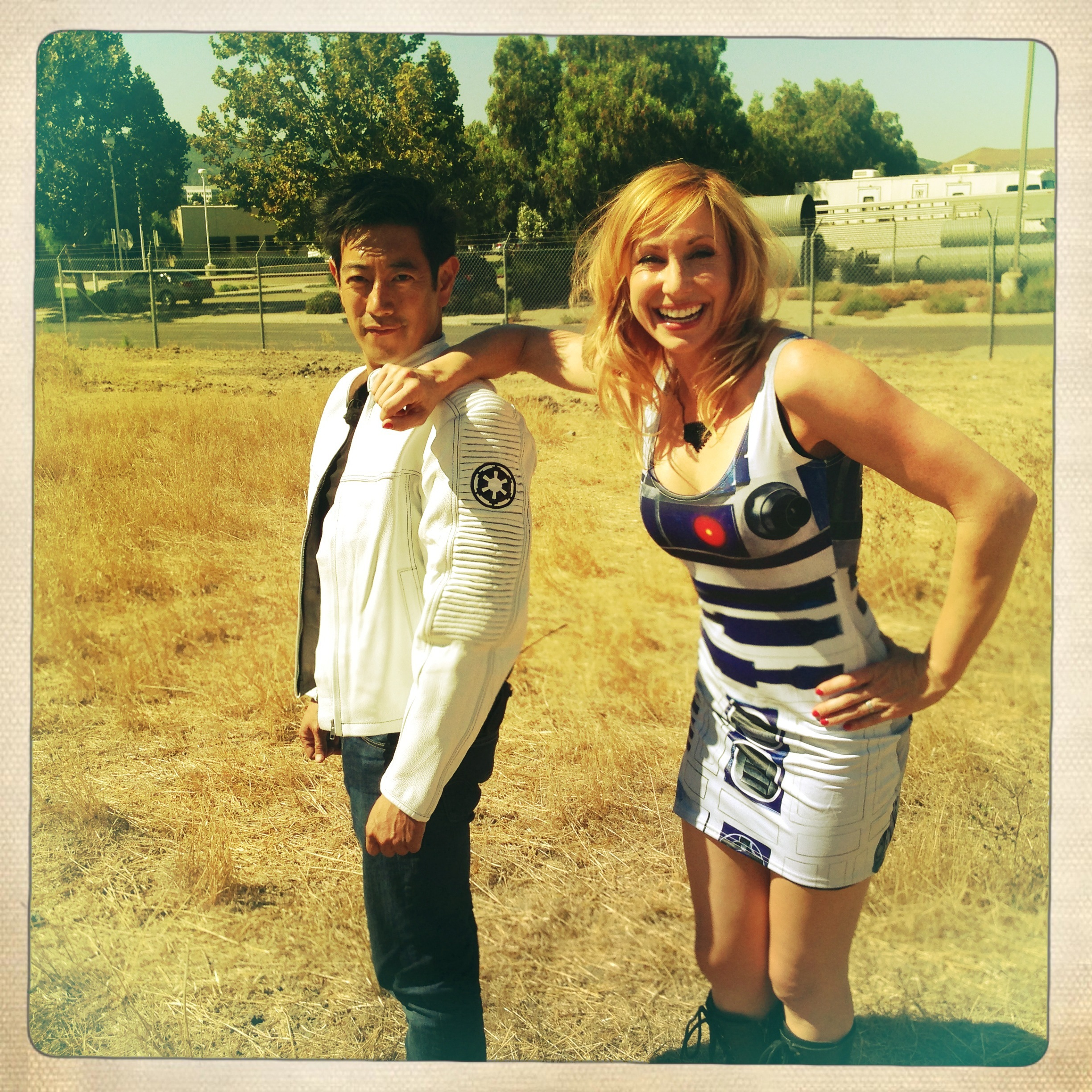 """Grant Imahara and Kari Byron show off their """"Star Wars"""" threads in this candid behind-the-scenes shot from the """"MythBusters"""" set."""
