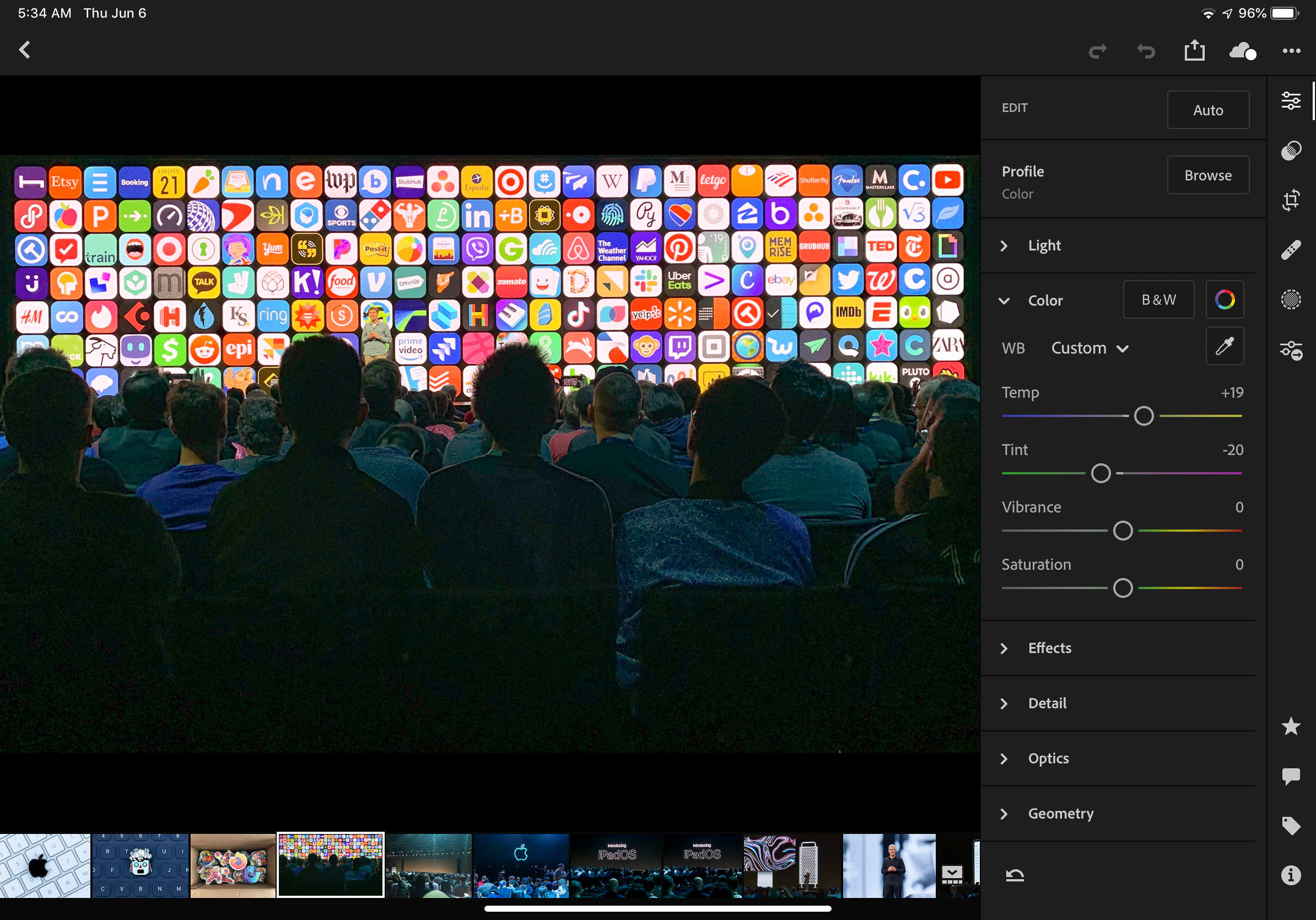 Adobe Lightroom for iPad used to edit a photo of Apple's WWDC 2019 conference.