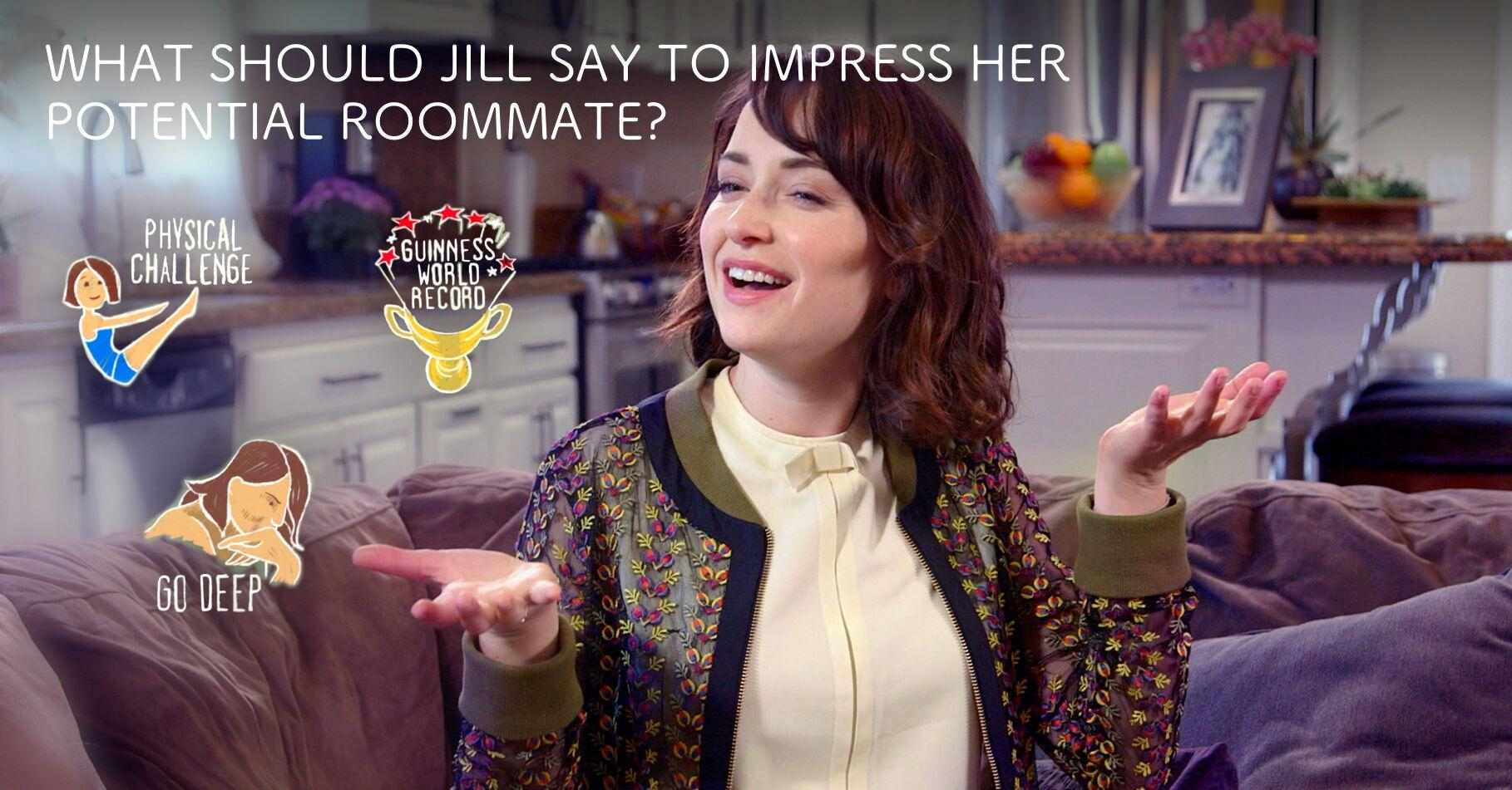 A screenshot of woman in a video, with icons that viewers can pick to determine what anecdote she uses to impress her roommate.