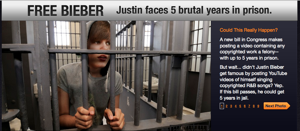 Screen snapshot from FreeBieber.org, which warns that everyone's favorite teen-pop icon would face jail time under proposed copyright law changes.