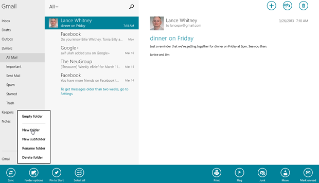 The Windows 8 Mail app now lets you create folders to store your messages.