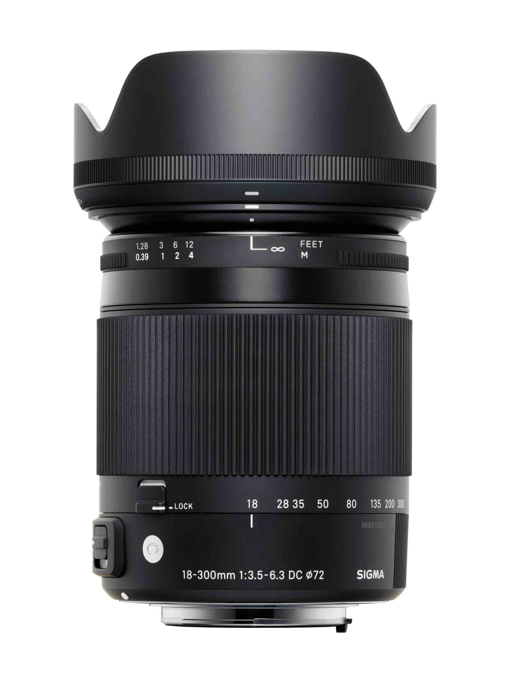 Sigma's 18-300mm F/3.5-6.3 DC Macro OS HSM Contemporary, shown here with its lens hood on, is a $579 ultrazoom.