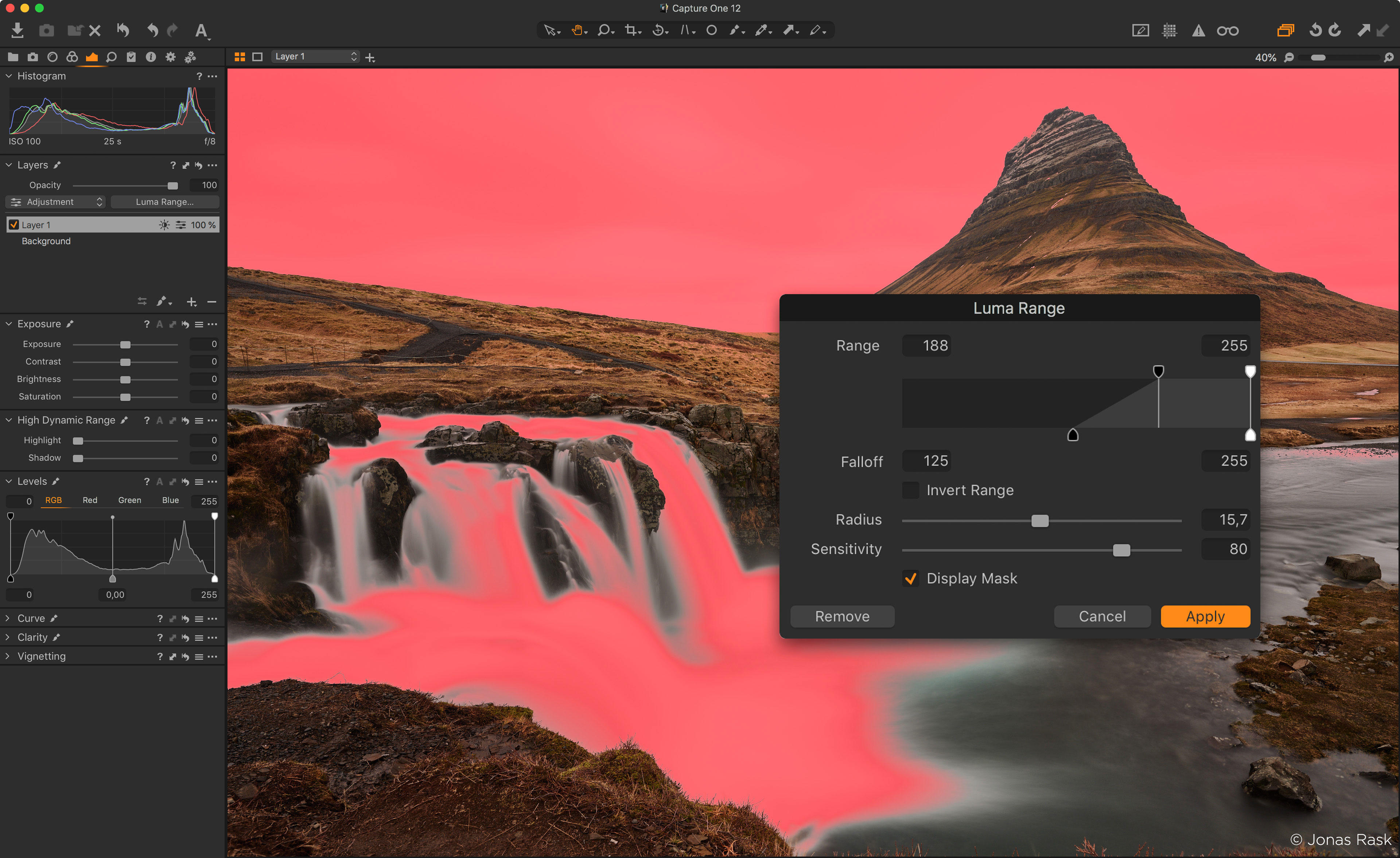 Luminance masking in Phase One Capture One 12 lets photographers change just what's in bright or dim areas of a photo.
