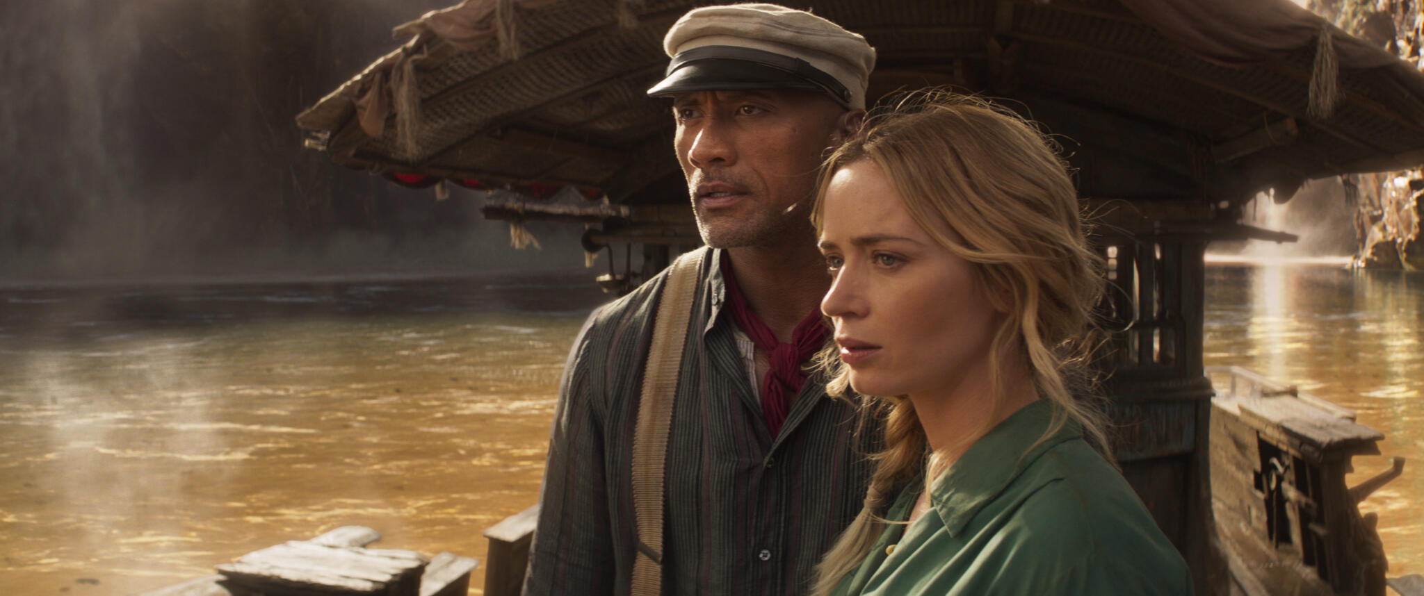 The Rock and Emily Blunt in Jungle Cruise