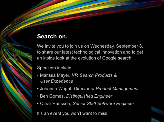 Invitation to the Google search event held on Wednesday, September 8.