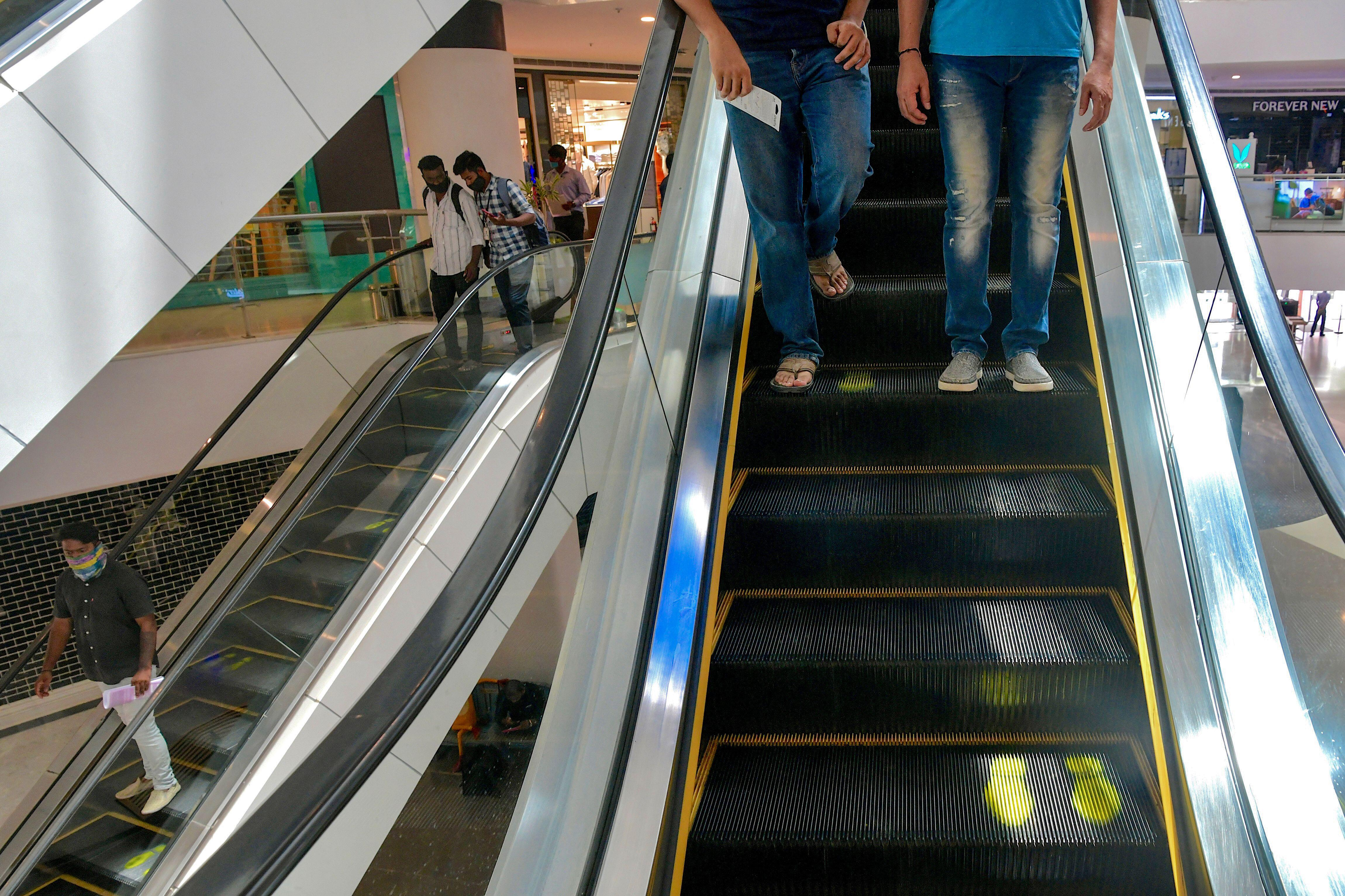 India: Escalators marked for social distancing