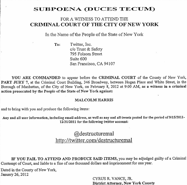 This is a screenshot of a digital version of the subpoena to Twitter.