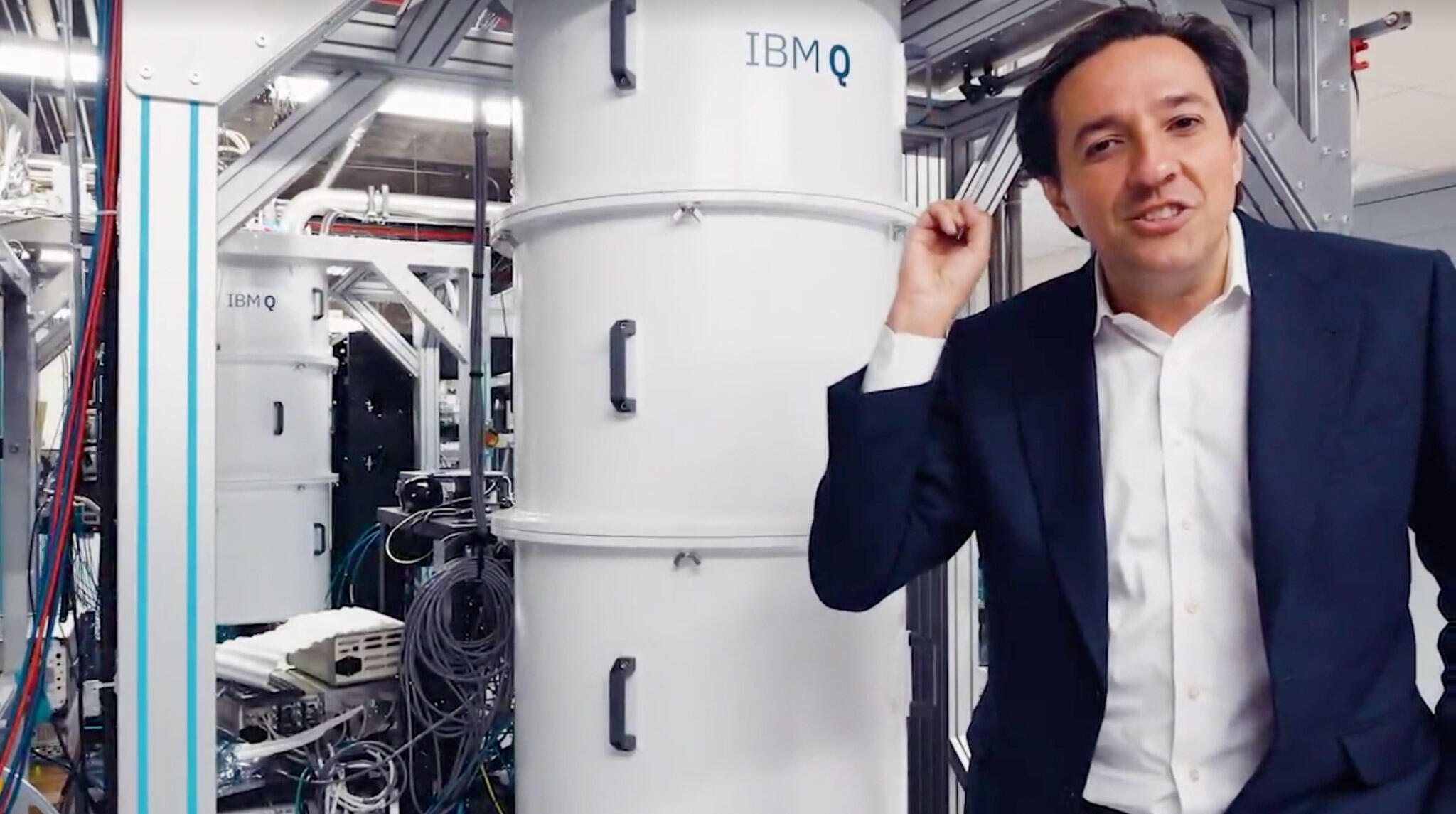 Dario Gil, head of IBM Research, shows off one of IBM's 18 quantum computers during its Think conference.