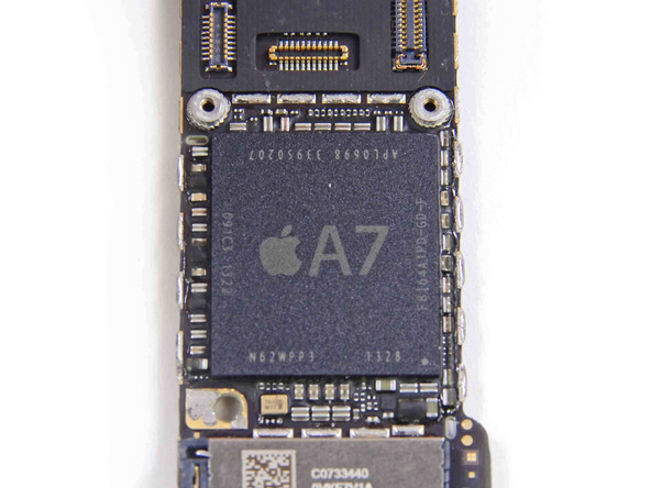 The 64-bit Apple A7 chip, which is proving to be one of the fastest smartphone chips to date based on benchmarks.