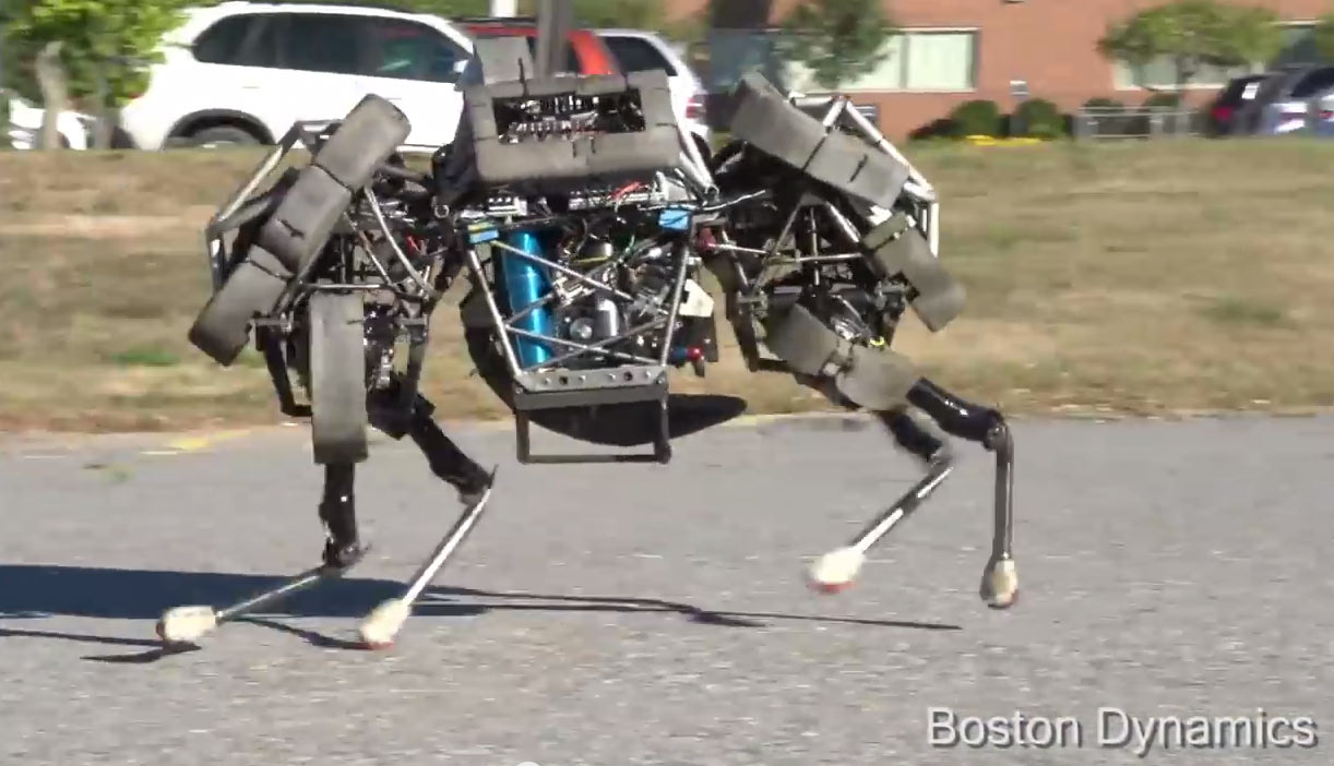 Boston Dynamics' gas-powered WildCat robot, which can gallop across a parking lot, is now part of Google's robotics program.