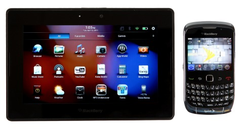 """A """"bridge"""" app allows the new BlackBerry PlayBook tablet to connect to a BlackBerry smartphone to access e-mail and a 3G data connection."""
