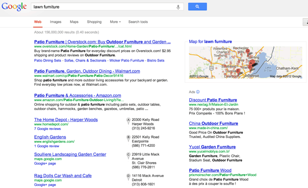 A Google search for lawn furniture shows a blend of local results supplied by Google, including Google Maps locations, some links to Google+ pages, and some Google-hosted customer reviews. On the right edge below the map are search ads from companies including comparison-shopping site Nextag, which objects to Google's treatment in regular search results.