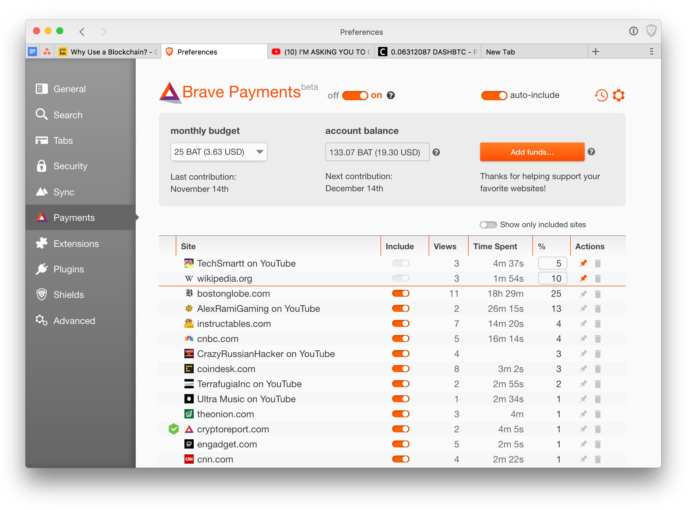 Brave's payment system now can direct money to YouTube creators