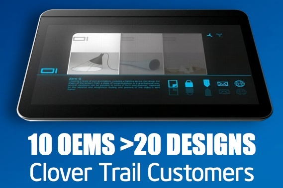 Intel says 20 Windows 8 tablet designs are on the way based on the Clover Trail Atom chip.