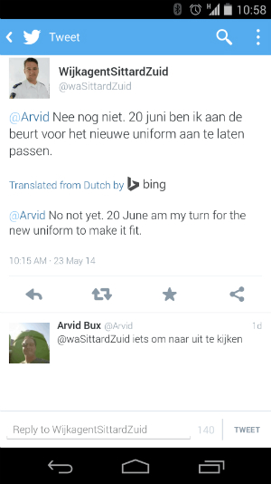 Blogger Arvid Bux spotted an apparent test of Bing Translate in his Twitter Android app.