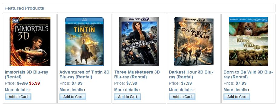 3D-BlurayRental.com offers perhaps the largest selection of 3D movies anywhere, and at reasonable prices.