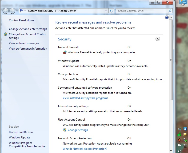 Windows 7 Action Center security settings