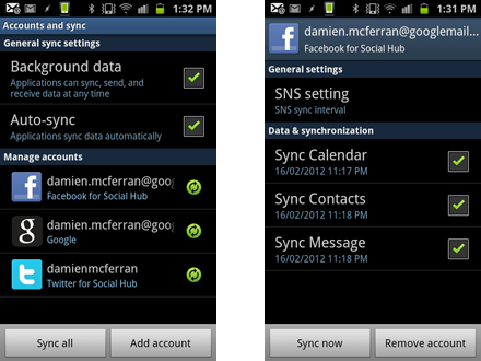 How to make your Samsung Galaxy S2 a social network powerhouse: step 3.2
