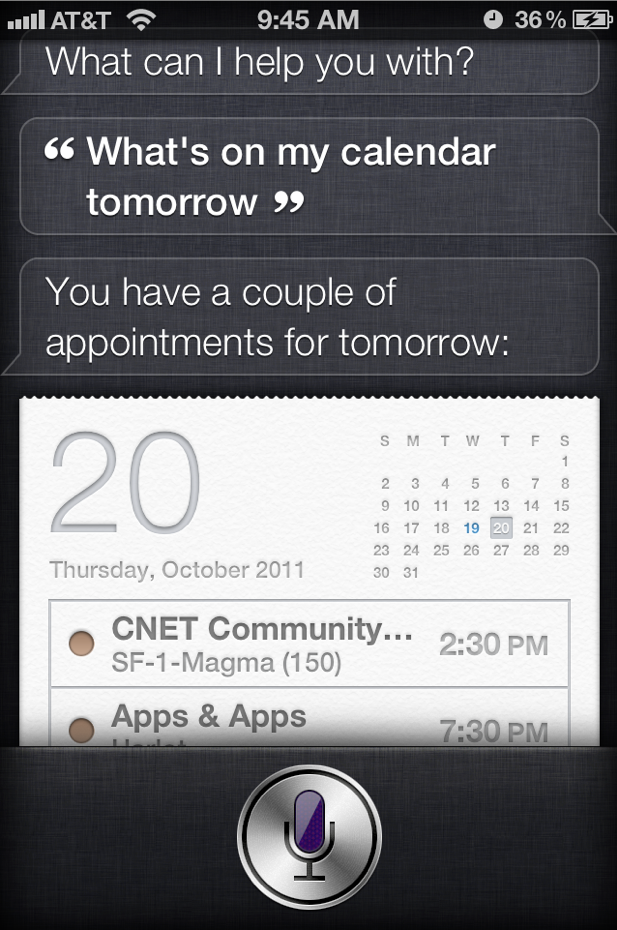 In a default setting, Siri let's a complete stranger see your calendar on your passcode locked iPhone 4S, as well as get contact information, make a call and send texts and e-mails.