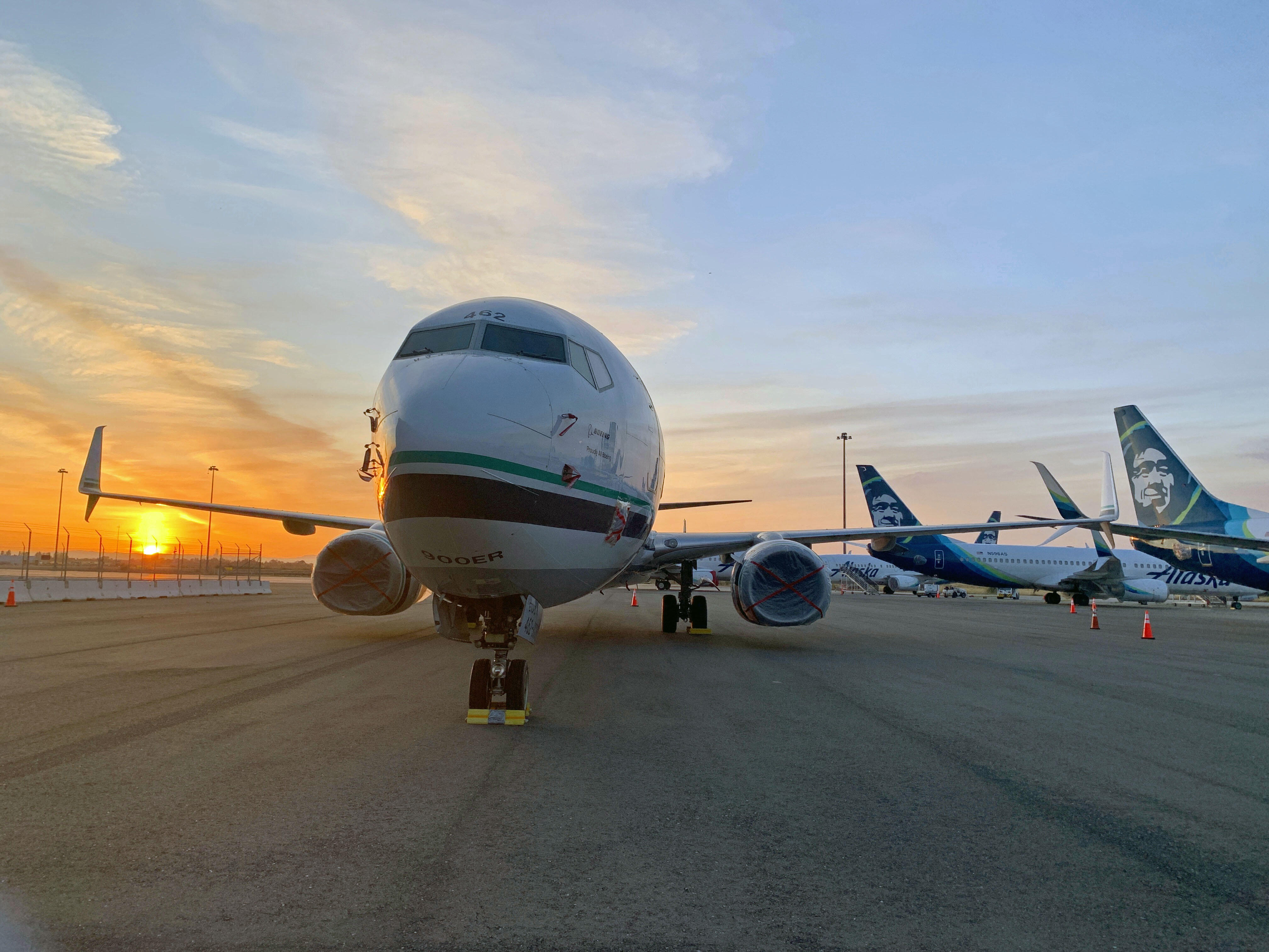 <p>An Alaska Airlines 737 waits out the pandemic at Oakland International Airport.</p>