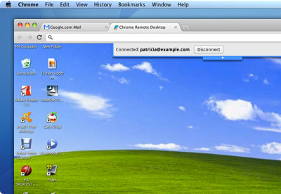 The Chrome remote desktop extension lets a person remotely control another computer over the network, in this case using Chrome on a Mac to control a Windows machine also running Chrome.