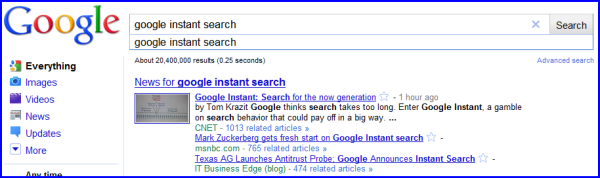 Google Instant Search on the desktop
