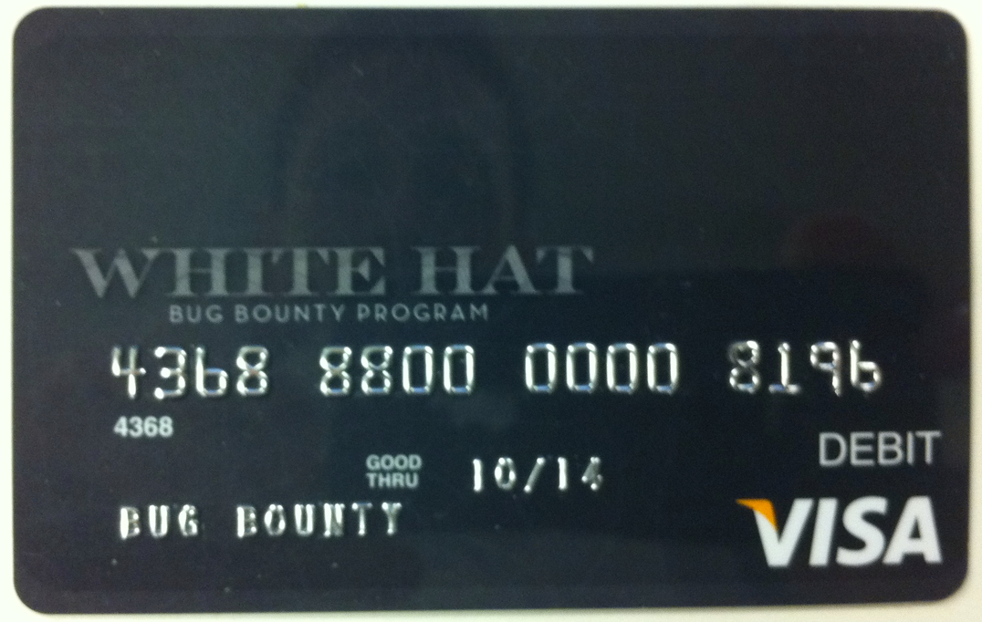 This is the Visa debit card Facebook is giving to some security researchers for reporting bugs.