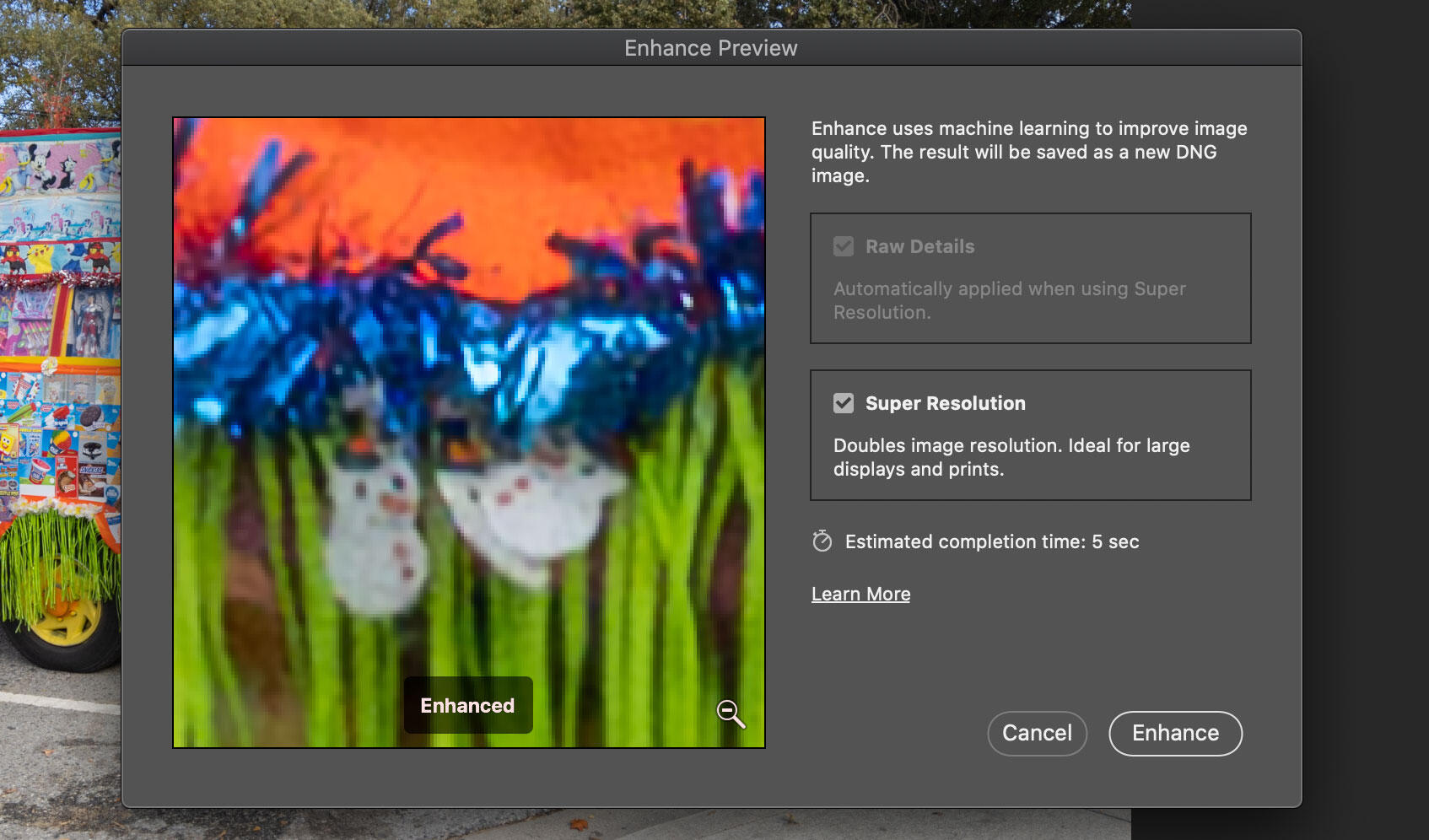 Photoshop Super Resolution preview