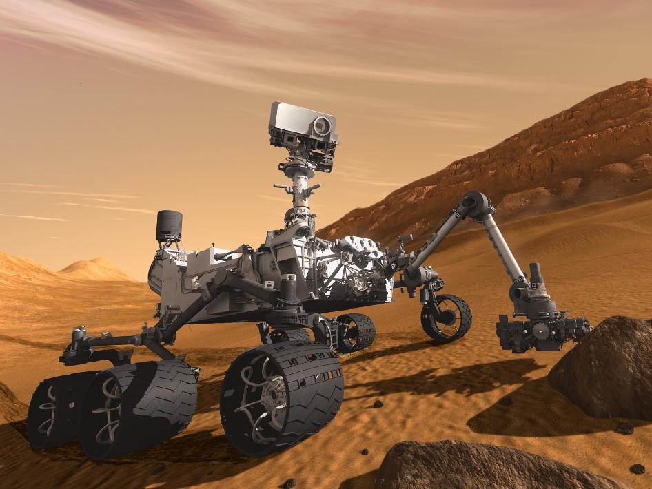 An artist's rendition of the Curiosity robot designed for round-the-clock scientific experiments.