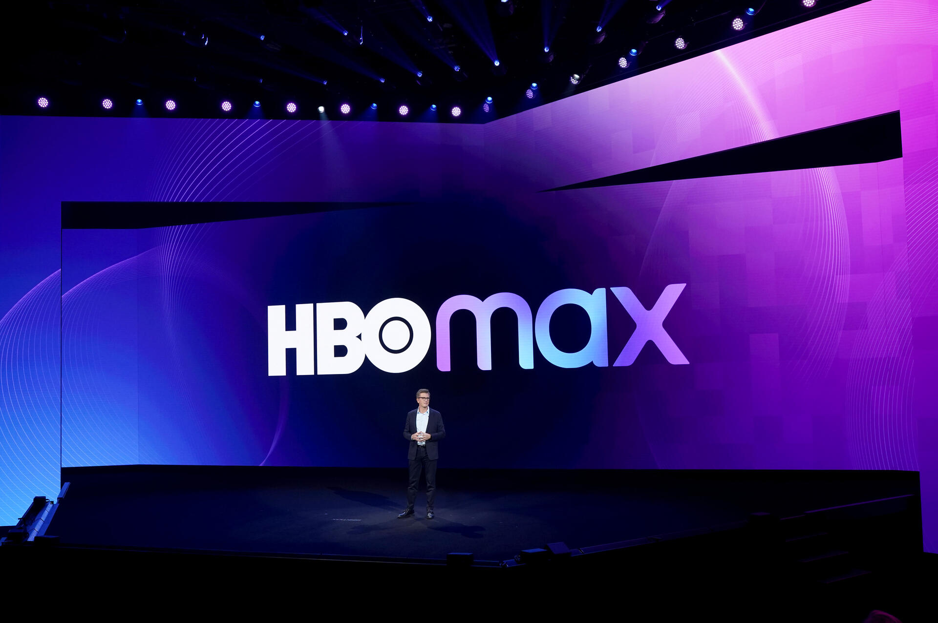 HBO Max logo on stage