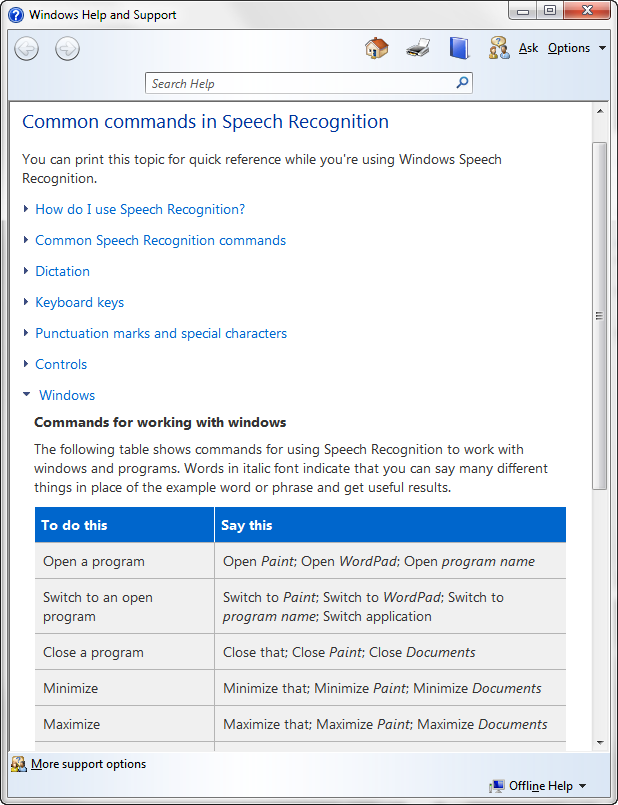 Speech recognition reference card