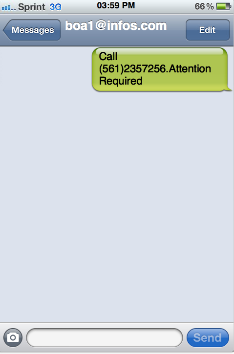 This is an example of one of the SMS phishing messages that purports to come from Bank of America.