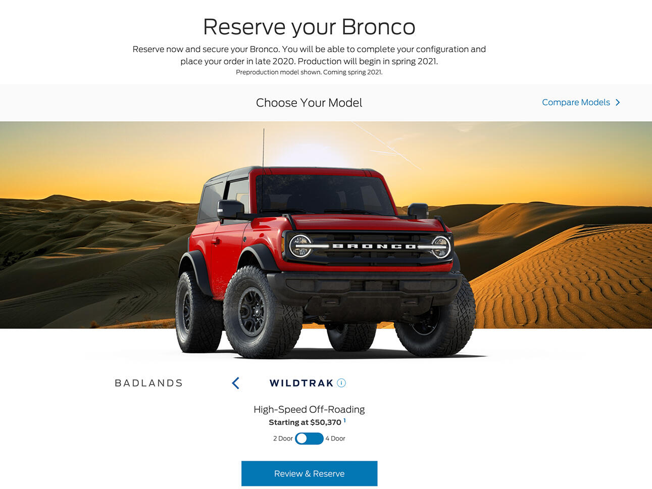 Ford Bronco Wildtrak - red - in reservation configurator