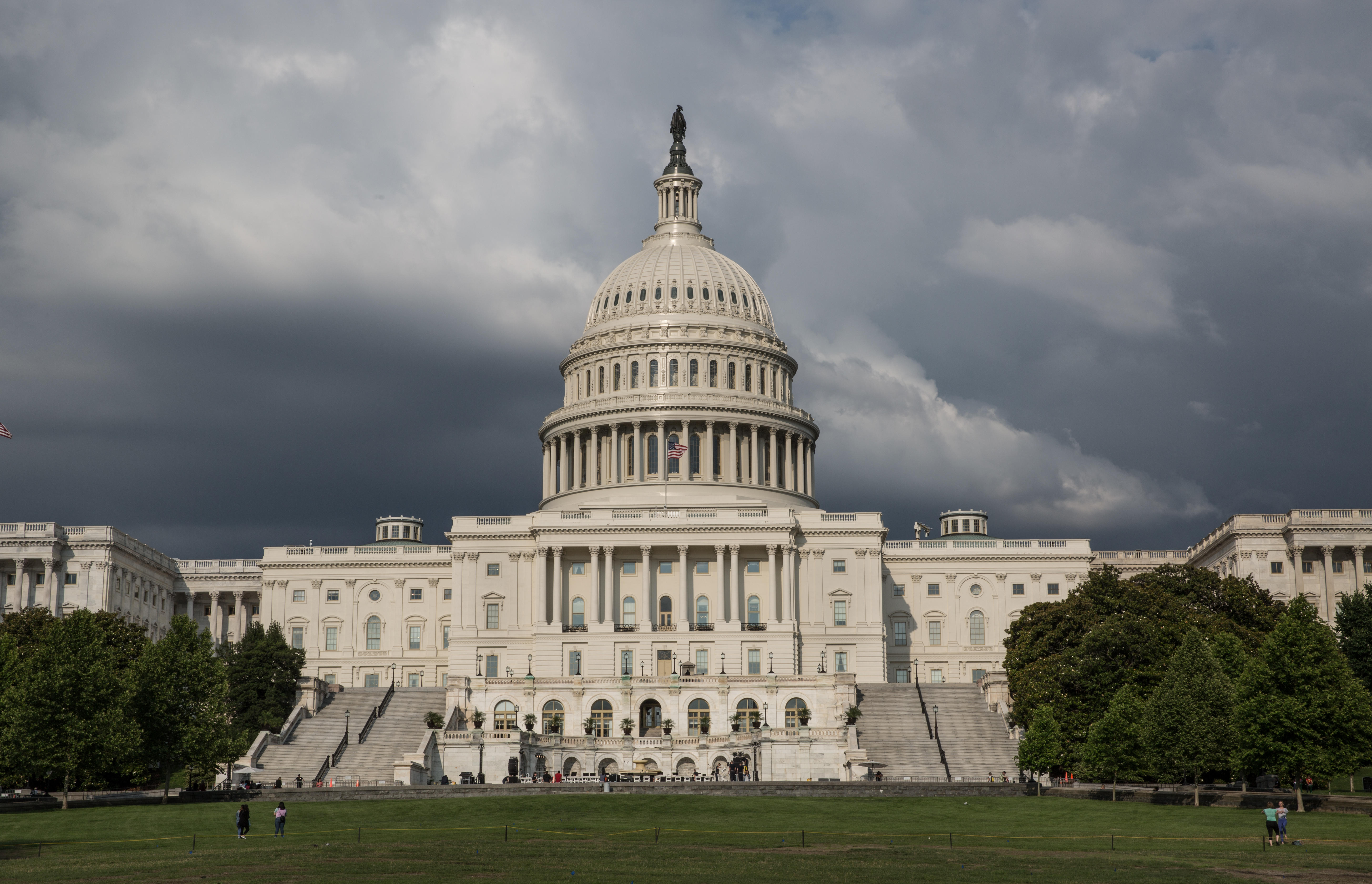 Exterior of the US Capitol building on a cloudy June day in 2018.