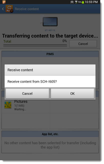 Samsung Smart Switch Mobile transfer accept
