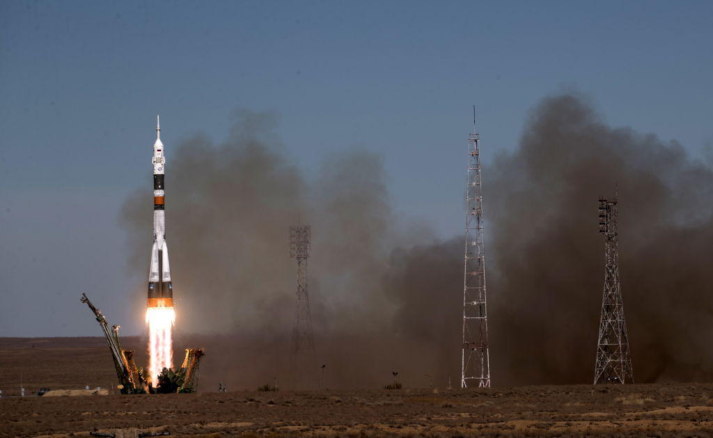 Soyuz MS-10 spacecraft launched by Soyuz-FG rocket booster from Baikonur Cosmodrome