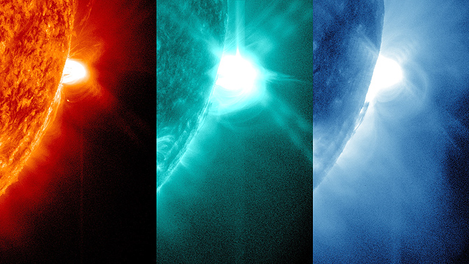Solar flare in various wavelengths