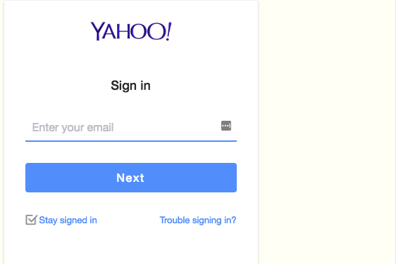screen shot of Yahoo mail sign-in page